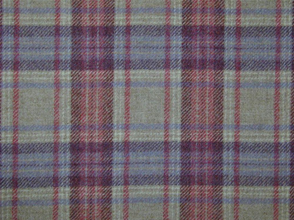 Curtain Fabric Highland Wool Tartan Mauve Natural Rose Check Plaid