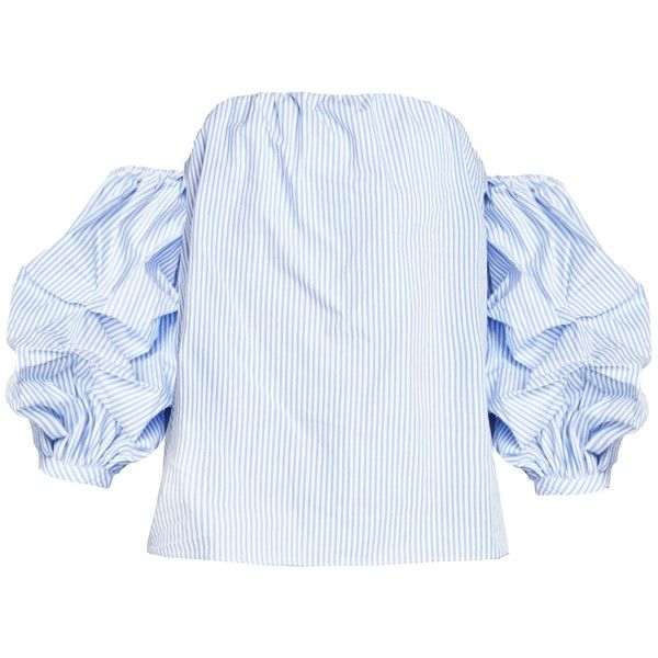 cb75b26db81e03 Ruched Balloon Sleeve Off the Shoulder Stripe Top ($56) ❤ liked on Polyvore  featuring tops, rouched top, blue off shoulder top, ruching tops, off  shoulder ...