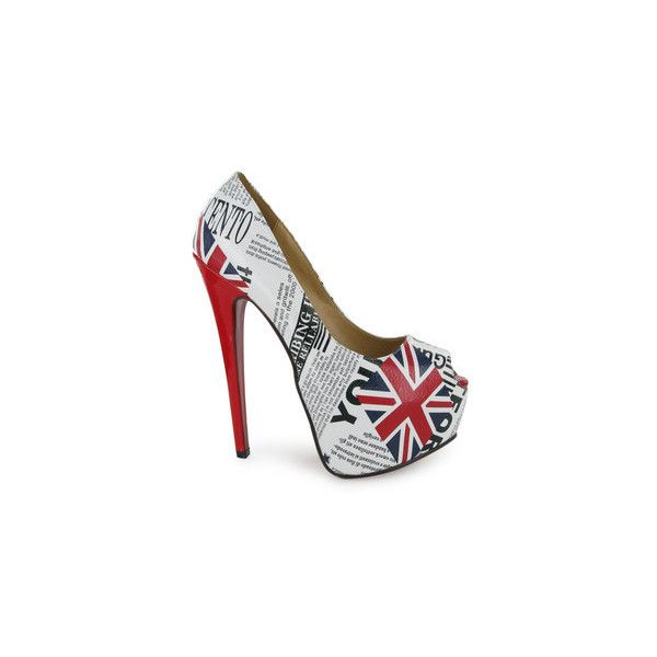 LADIES WHITE BRITISH FLAG FAUX SUEDE PLATFORM WOMENS HIGH HEELED SHOES... ❤ liked on Polyvore