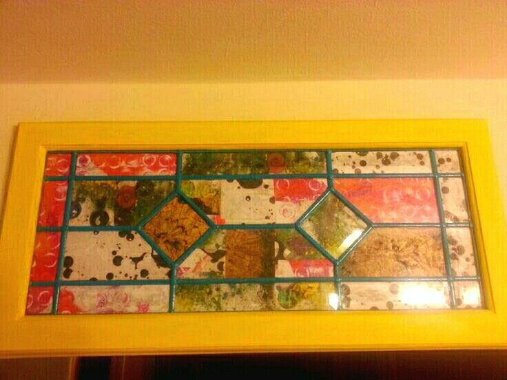 I created a Vintage pop of wall art with an old window pane. #diy ...