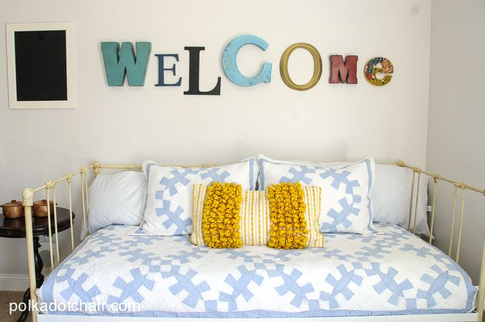 Navy Gold Guest Bedroom Decorating Ideas On Polkadotchair