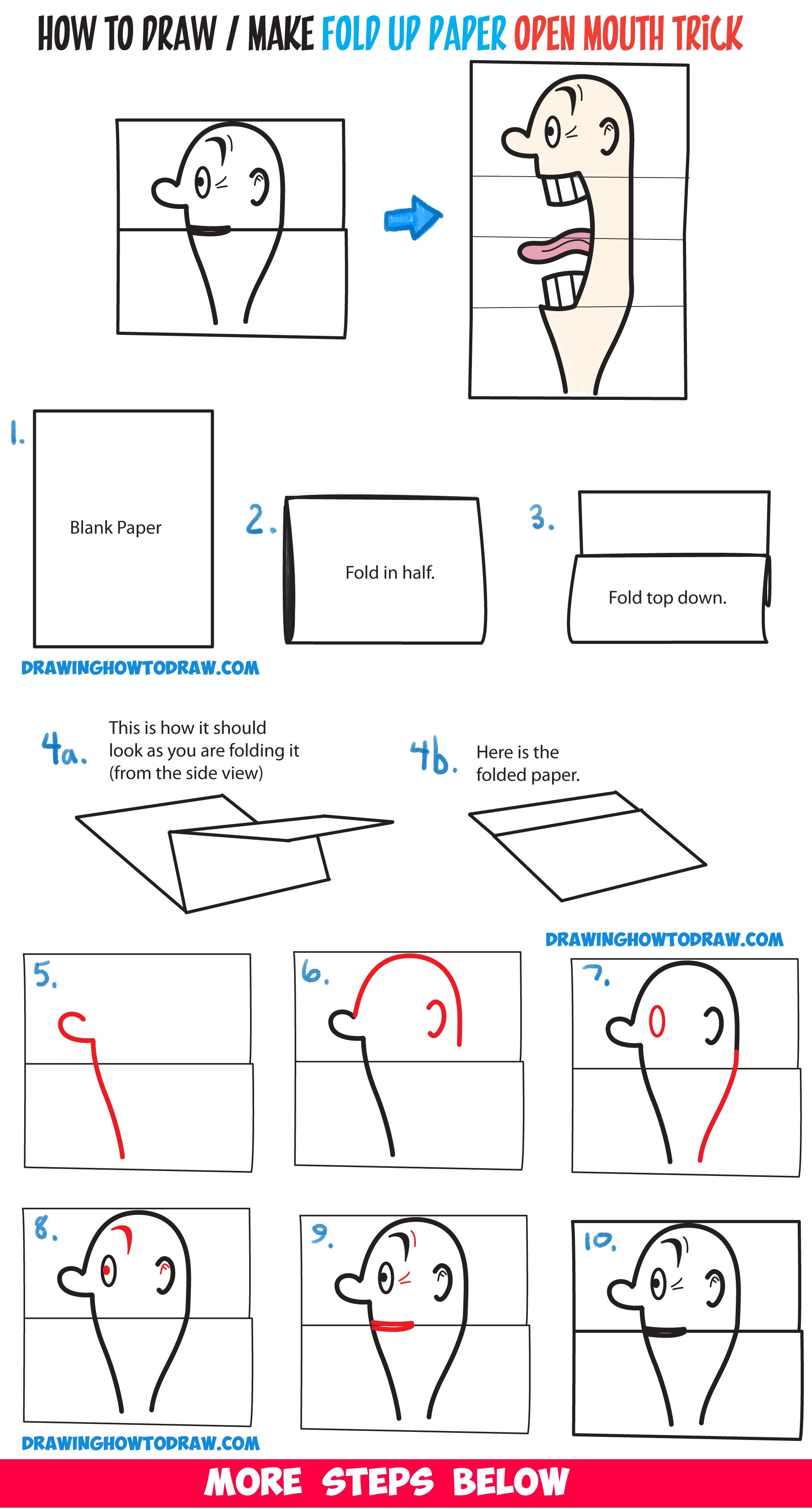 how to draw a big opening mouth paper folding trick perfect for