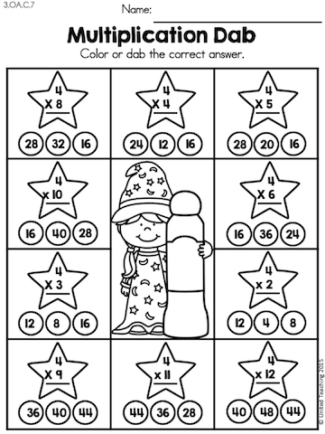 Multiplication Dab Children Master The Multiplication Facts And Become Math Wizards Multiplication Fun Math Worksheets Math Multiplication Worksheets