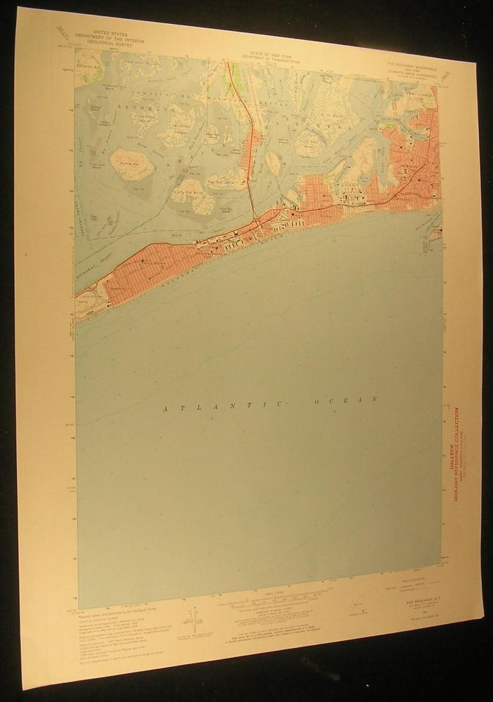 Far Rockaway New York Jamaica Bay Brooklyn 1971 antique color lithograph map