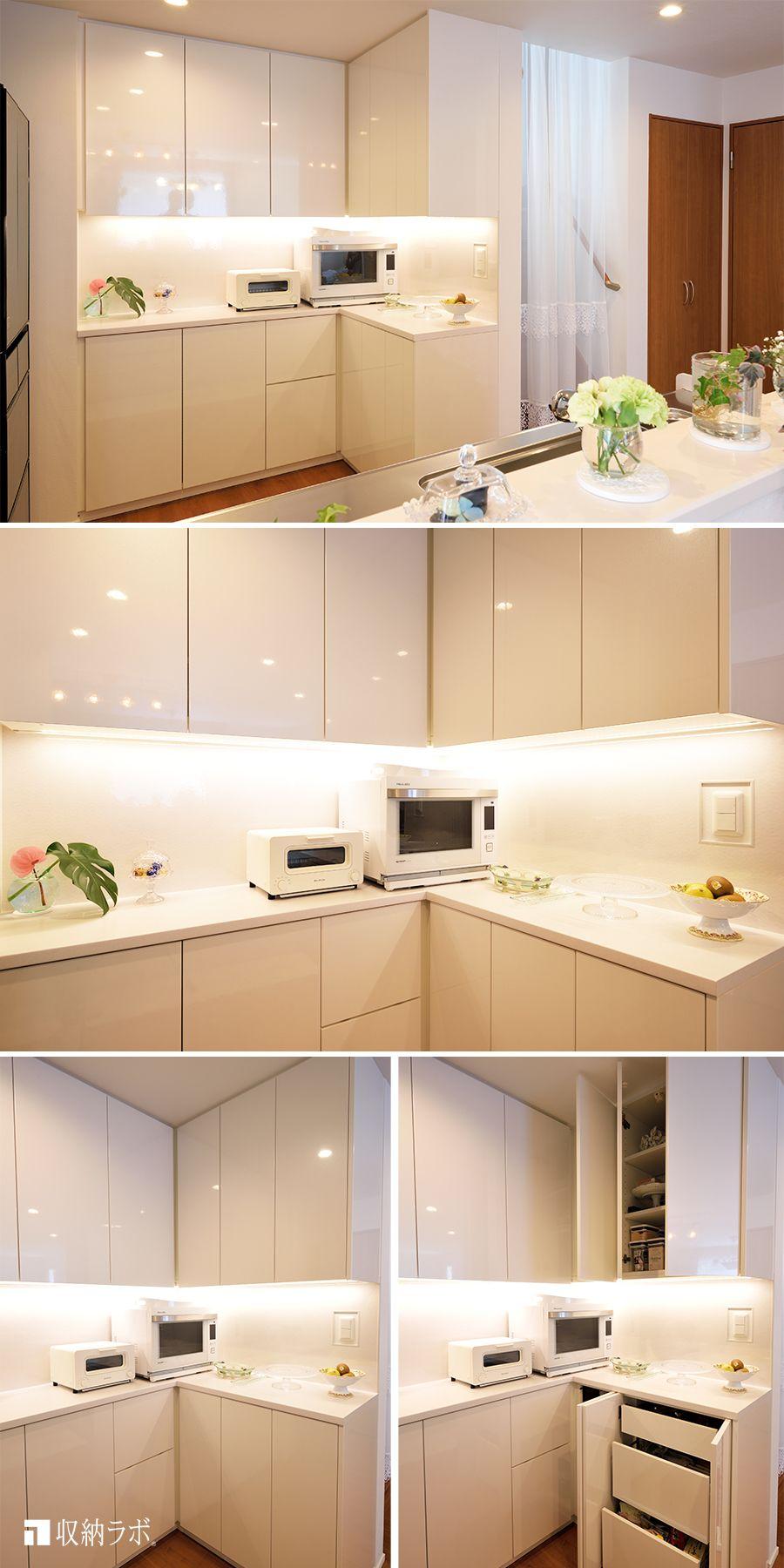 すべてを隠せてフラットな印象にこだわった 白い食器棚 食器棚