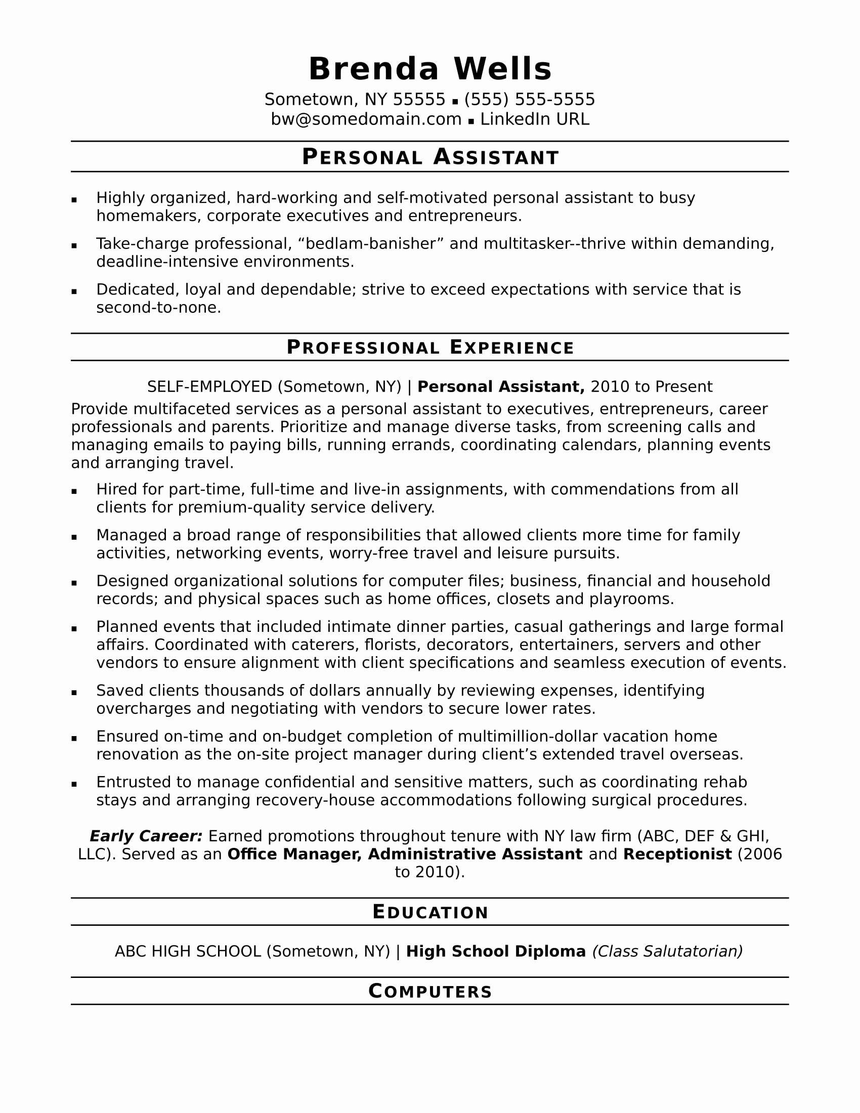 Concierge Job Description Resume Fresh Personal Assistant Resume Sample