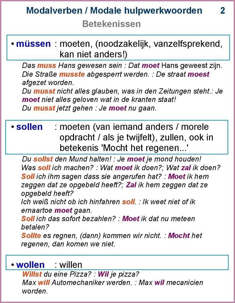 Modalverben / Modale hulpwerkwoorden (2)   Dutch 2018   Pinterest ...