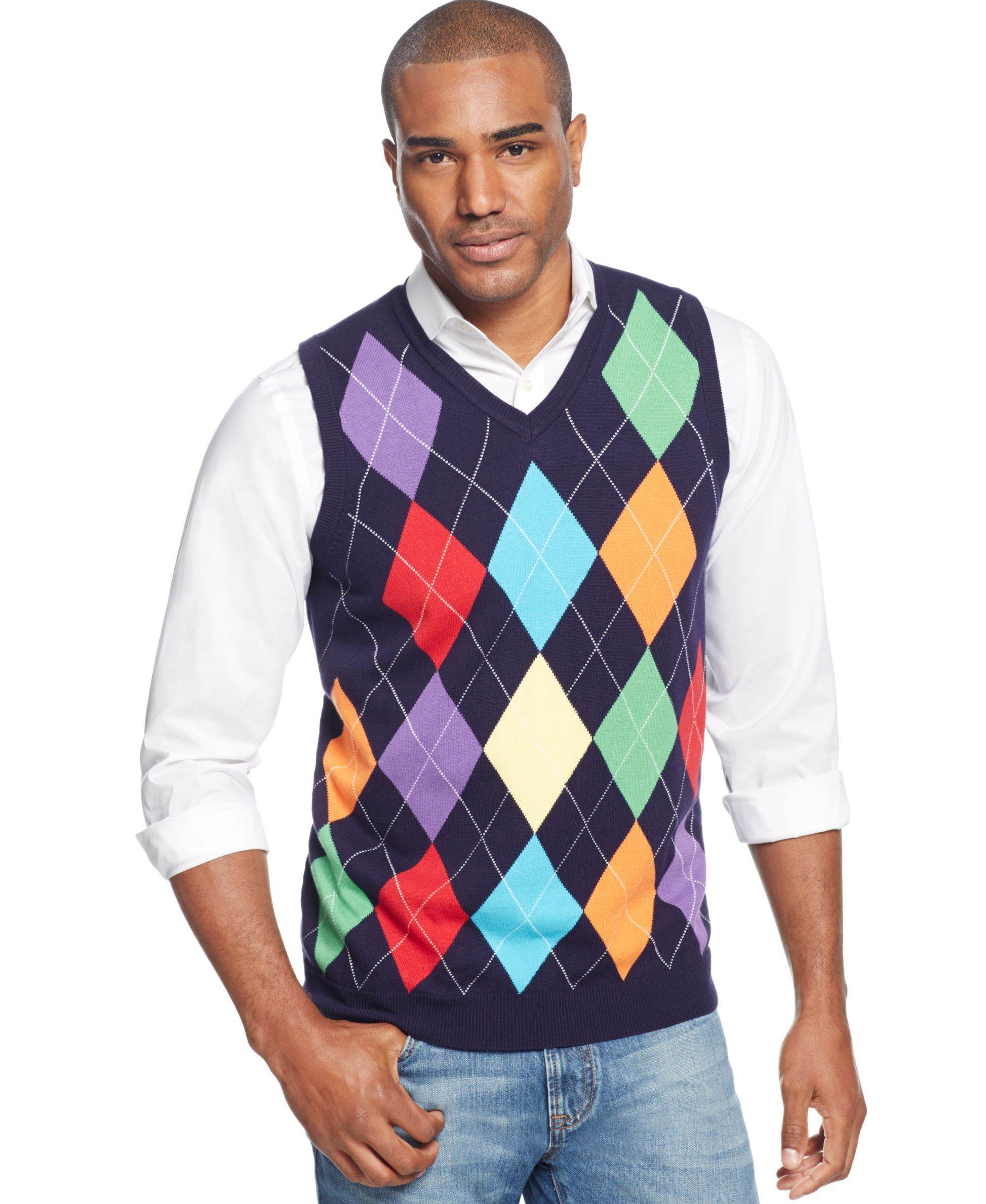 Club Room Sweater, Argyle Sweater Vest - Sweaters - Men - Macy's ...