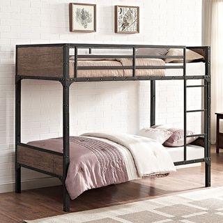 Twin Over Twin Rustic Wood Bunk Bed Brown Black Bunk Bed