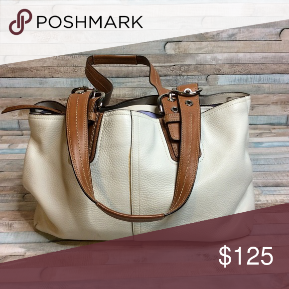 61a179ad5f3 Coach Large Shoulder Bag Tan and cream! Beautiful bag with purple interior.  Measurements  18