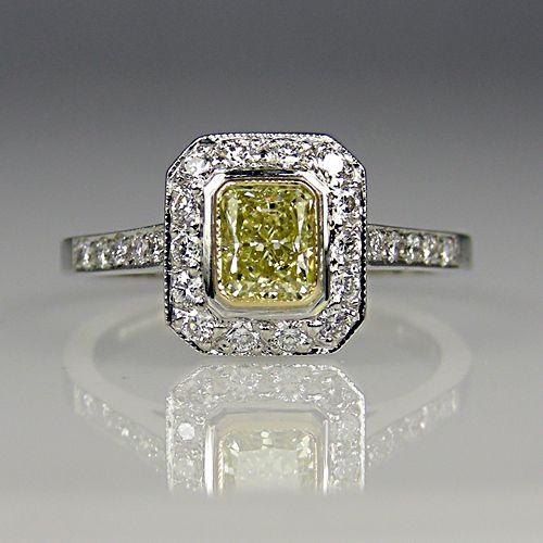 Yellow and white diamond ring in platinum