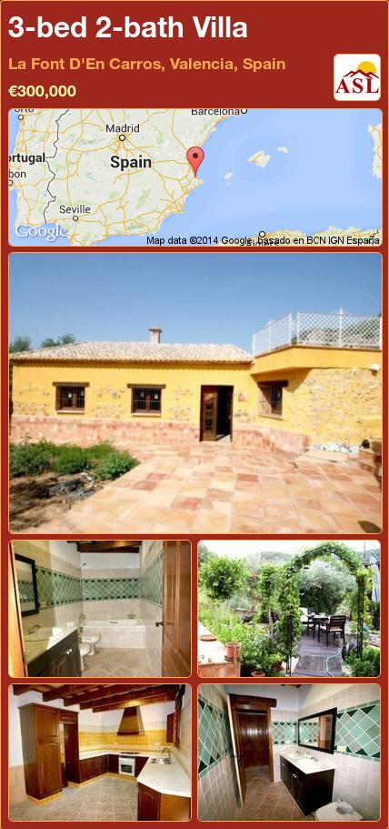 3-bed 2-bath Villa in La Font D'En Carros, Valencia, Spain ►€300,000 #PropertyForSaleInSpain