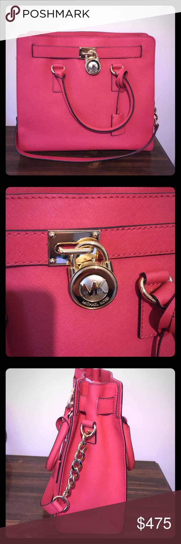 Michael Kors watermelon large Hamilton handbag 👜 Closet clean out, moving soon 💗 NWT Authentic Michael Kors watermelon (coral) Hamilton.  Stunning handbag! My boyfriend bought this for me and I've never used it! Great color for spring and summer 👜💗 MICHAEL Michael Kors Bags Totes