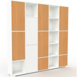 Photo of Wohnwand Weiß – Individuelle Designer-Regalwand: Türen in Buche – Hochwertige Materialien – 195 x 19