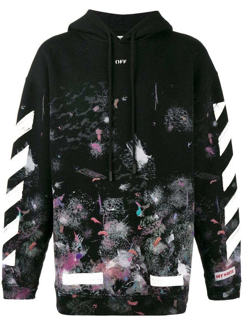 Off White Galaxy Stripes Hooded Cotton Sweatshirt In Black Modesens Off White Clothing Off White Clothing Brand Hoodie Fashion