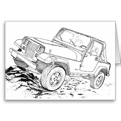 Amazon Com Jeep Yj Greeting Card Office Products Jeep Yj Jeep Drawing Jeep Art