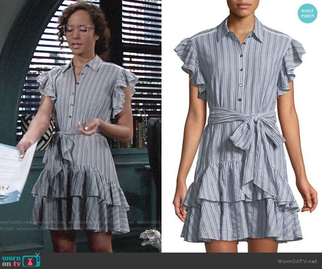 b48d6cc80f8 Mattie's striped ruffled dress on The Young and the Restless. Outfit  Details: https: