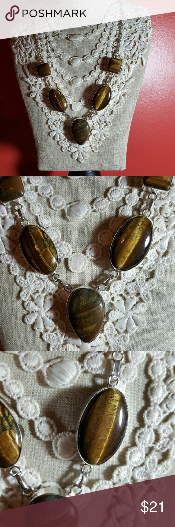 SALE Tiger eye stone necklace. NWOT Natural Tiger Eye stone is silver setting. NWOT Jewelry Necklaces