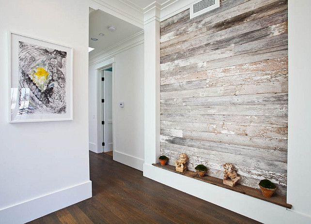 Reclaimed wood. Reclaimed wood plank wall. Foyer with reclaimed ...