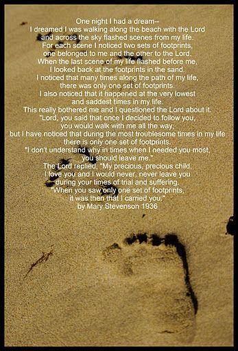 Original Footprints In The Sand Poem Mary Stevenson Footprints - by...