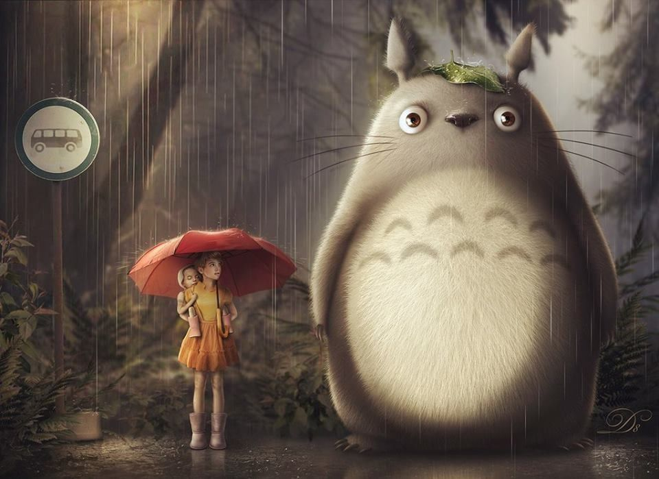 Beautiful Painting Satsuki Mei And Totoro At The Bus Stop With