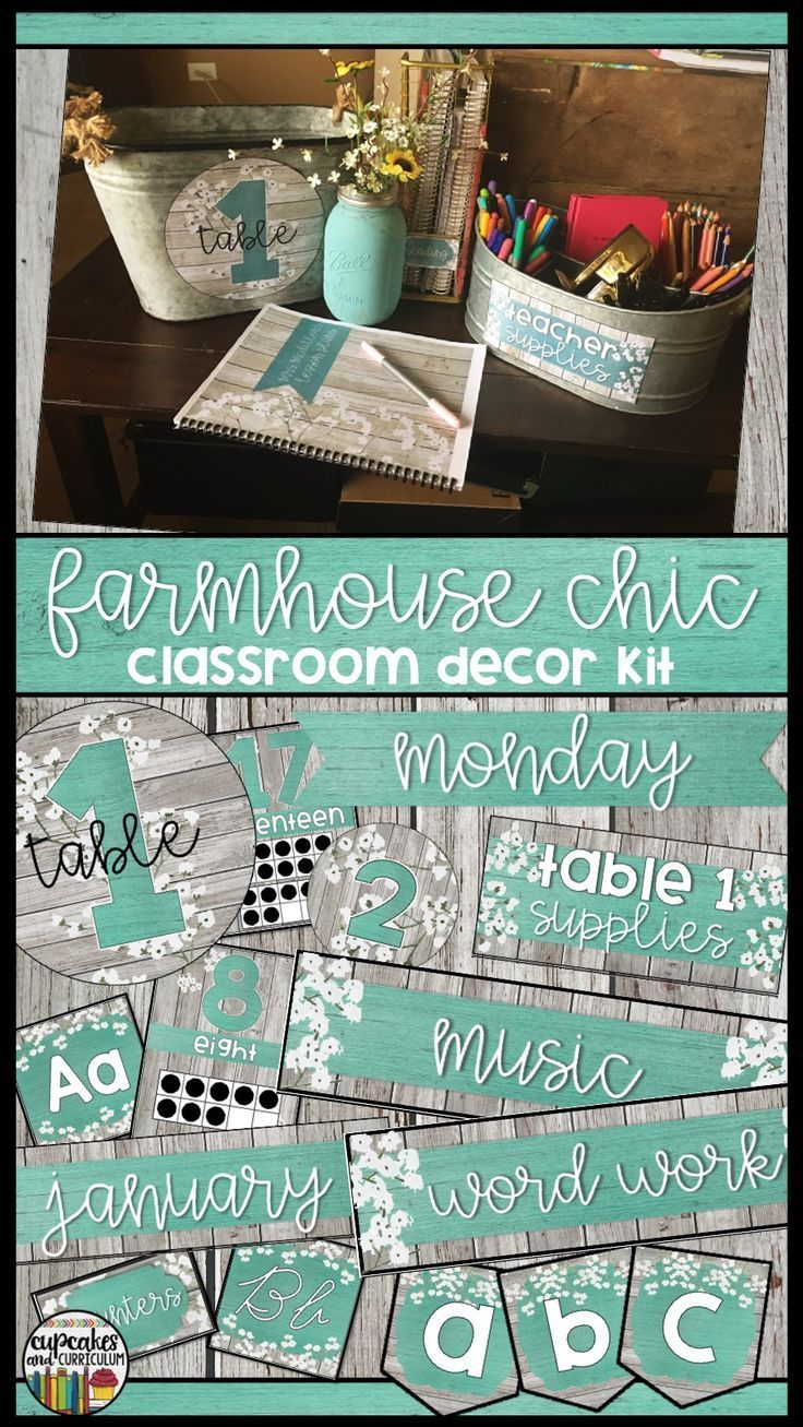 Farmhouse Chic Classroom Decor Kit With Editable Templates School