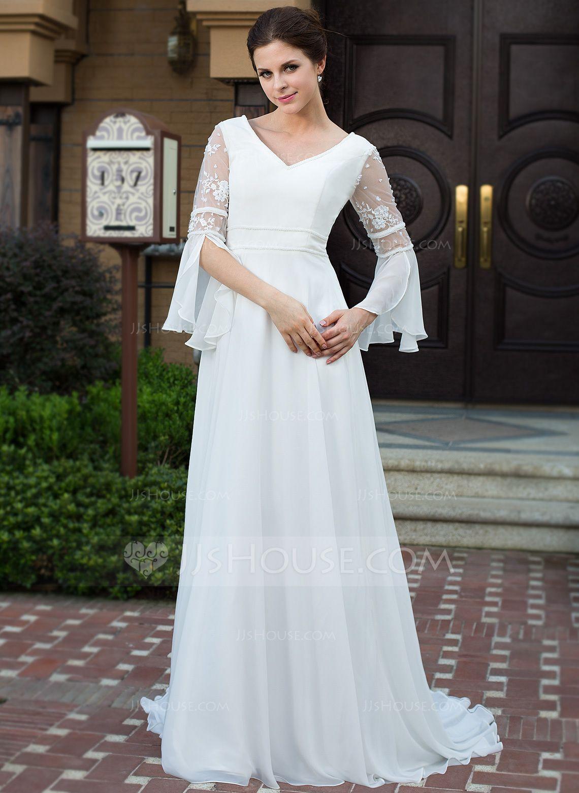 Long sleeve chiffon wedding dress  ALinePrincess Vneck Court Train Chiffon Wedding Dress With Lace