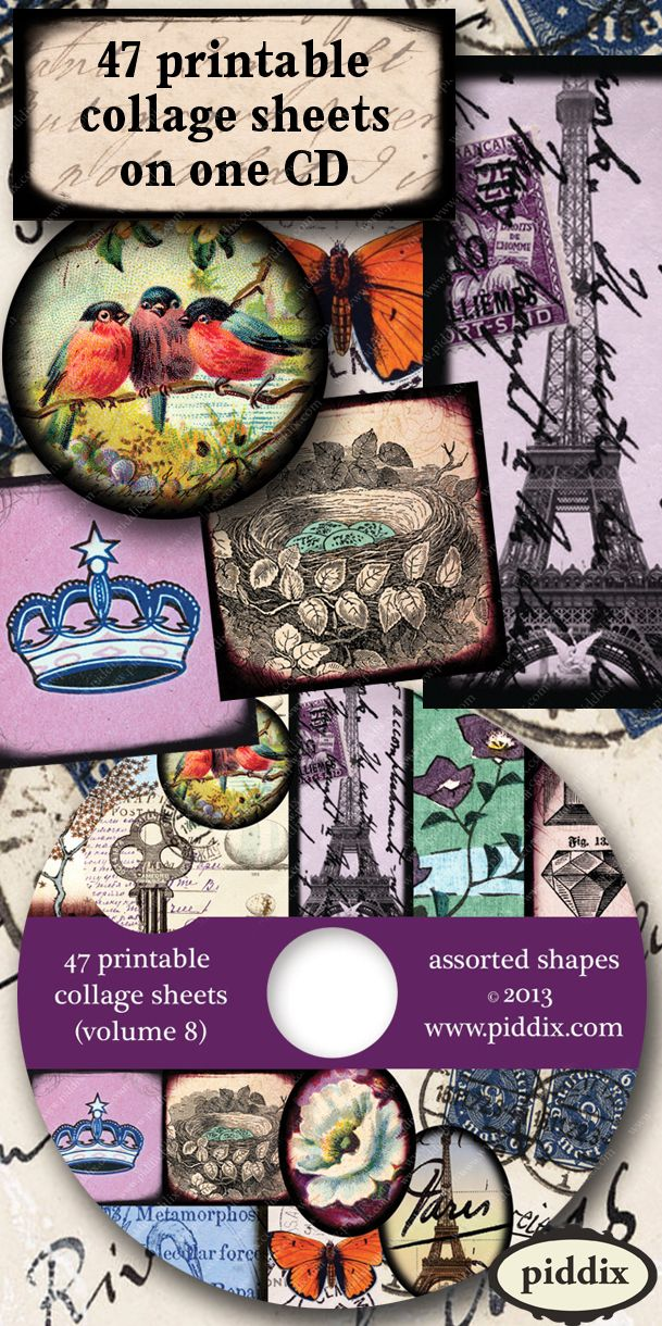 CD full of 47 different printable collage sheets in assorted shapes