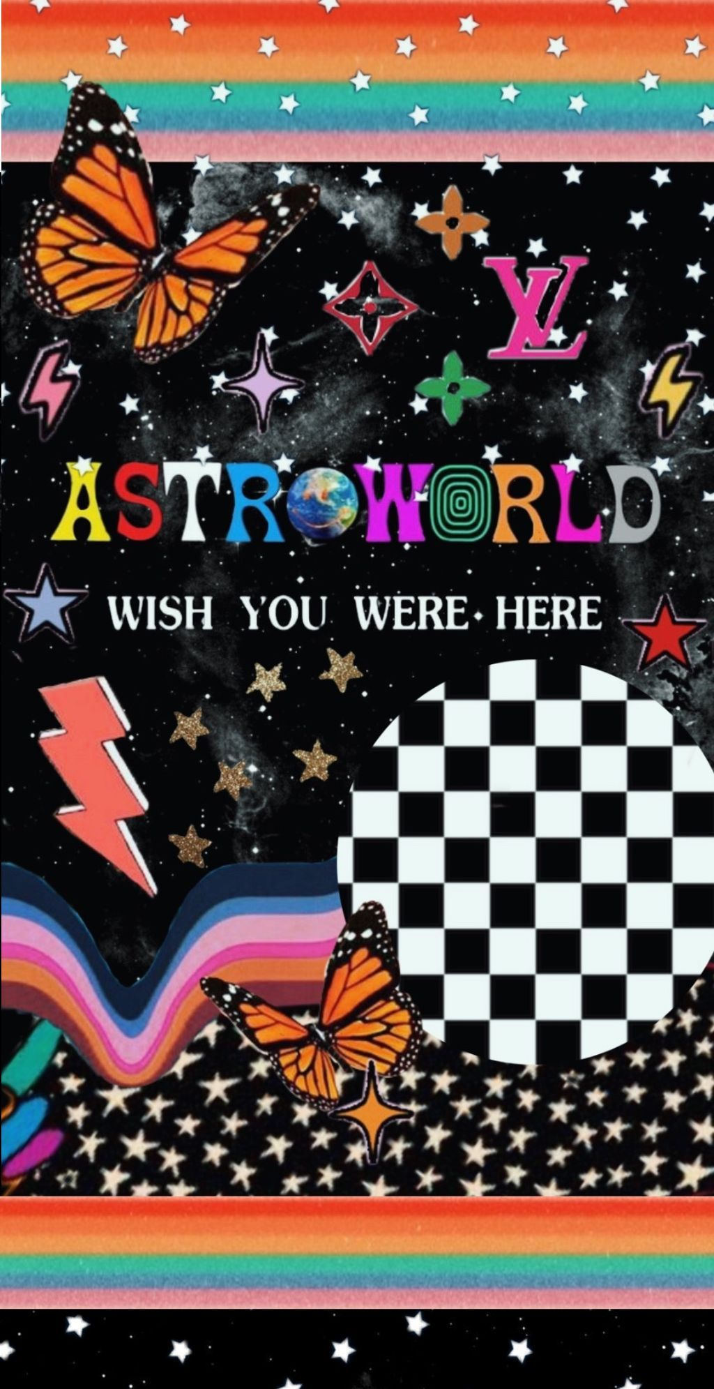 astroworld checked butterfly stars wallpaper vsco