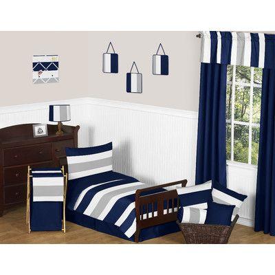 Stripe Collection 5 Piece Toddler Bedding Set #graystripedwalls