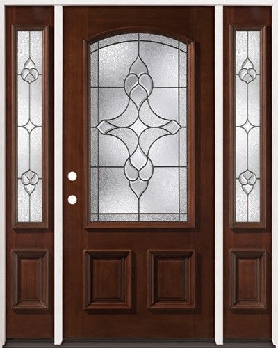 Pre-stained mahogany front door with sidelites. Arch decorative glass with patina-black & Pre-stained mahogany front door with sidelites. Arch decorative ...