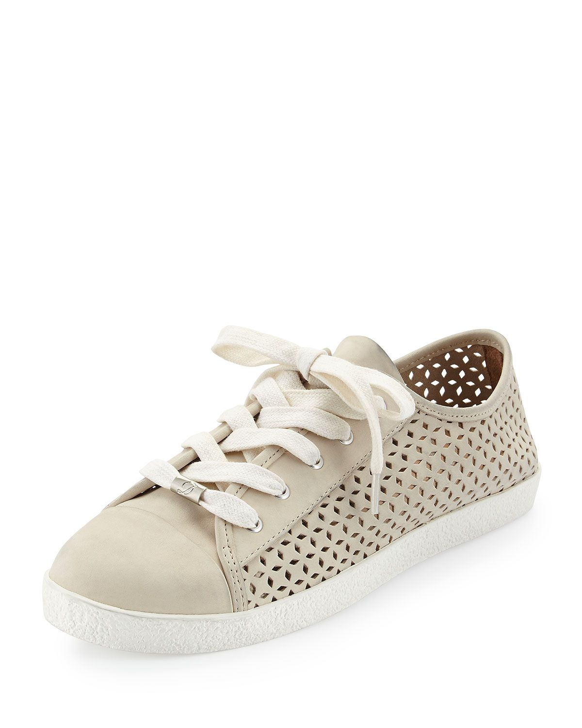 Magie Perforated Nubuck Low-Top Sneaker, Size: 40B/10B, Lt. Putty - Delman