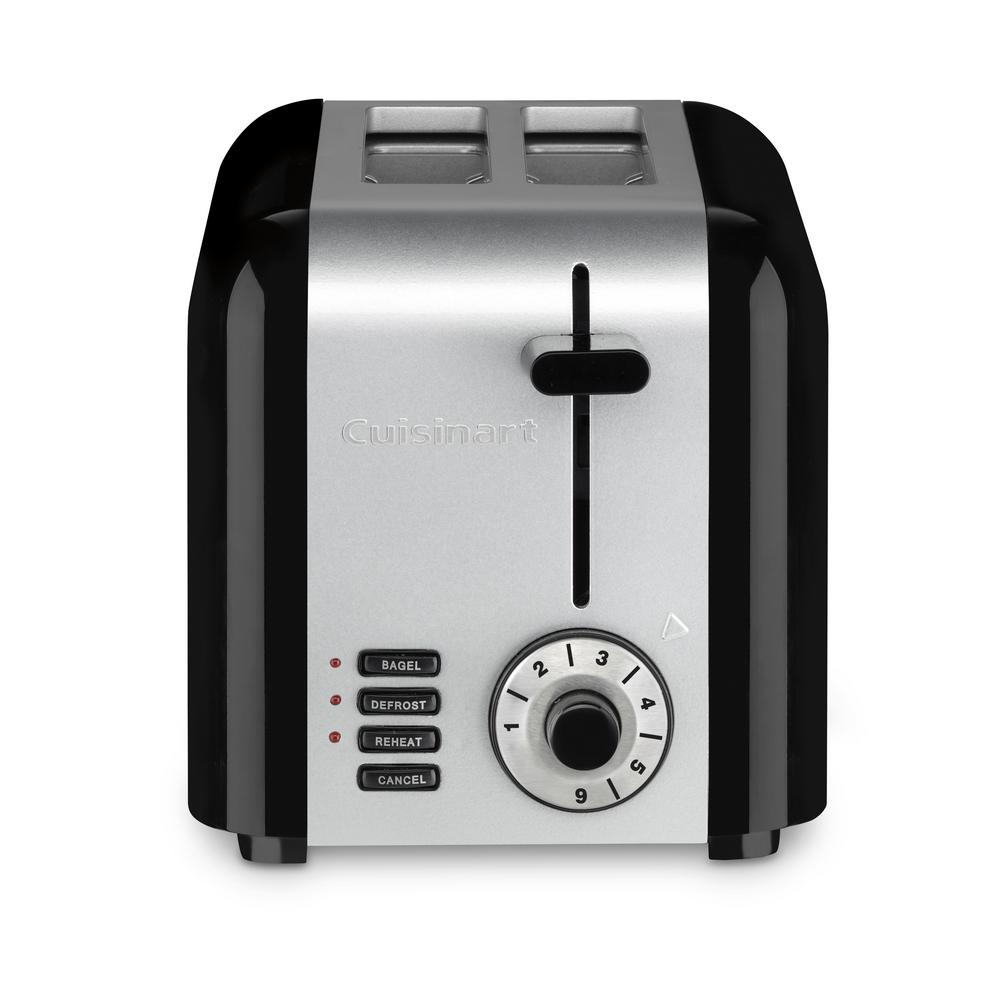 Cuisinart Compact 2 Slice Black Stainless Steel Wide Slot Toaster Stainless Black Stainless Steel Toaster Toaster Brushed Stainless Steel