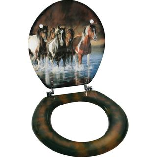 @Overstock.com - This is the perfect way for any horse lover to decorate their bathroom with style. The toilet seat is wood material construction in standard size of 15-1/2 inches x 13-1/2 inches. Rush Hour horses art on both sides of seat.http://www.overstock.com/Home-Garden/Rivers-Edge-Horses-Toilet-Seat/7865815/product.html?CID=214117 $59.99