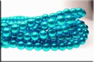 8mm Aquamarine Glass Pearls