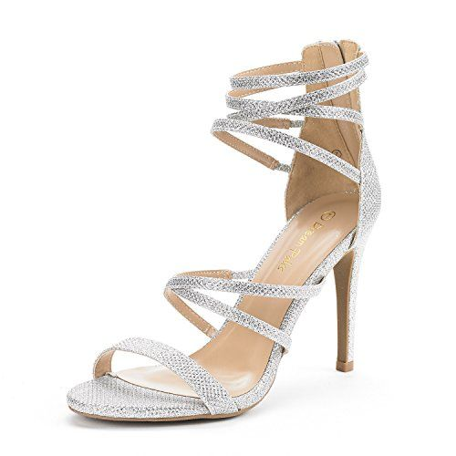 0f437fd42789b DREAM PAIRS SHOW Womens New Strappy Gladiator High Heel Sandals Back Zipper  Open Toe Pump Wedding Sandals SILVER GLITTER SIZE 85 -- Click image for  more ...