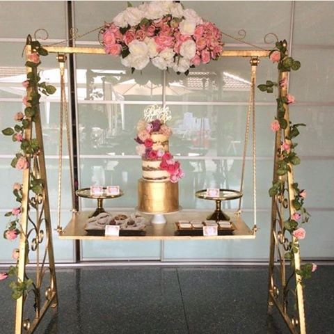 Swing Table mulpix @rach_elyce beautiful dessert table gold cake stands