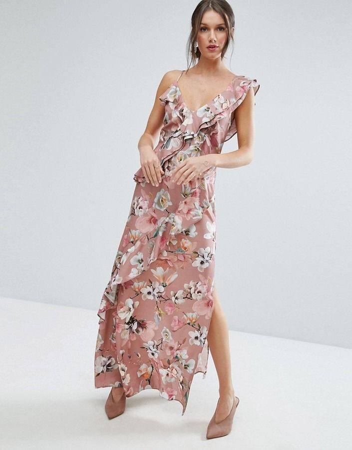 5d26aae07d47d Pair this floral ruffle maxi dress with strappy heels or a simple nude pump.