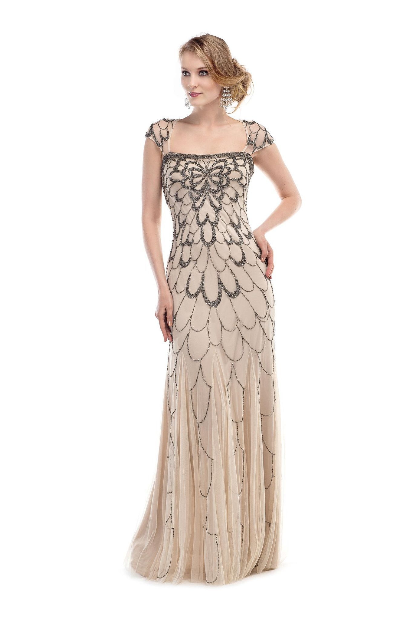 bf9bc866f6 GLOW G263 Beaded Flapper or Great Gatsby Style Prom Dress Evening Gown.  Elegant nude colored evening gown with metallic beading in an Art Decco  pattern ...