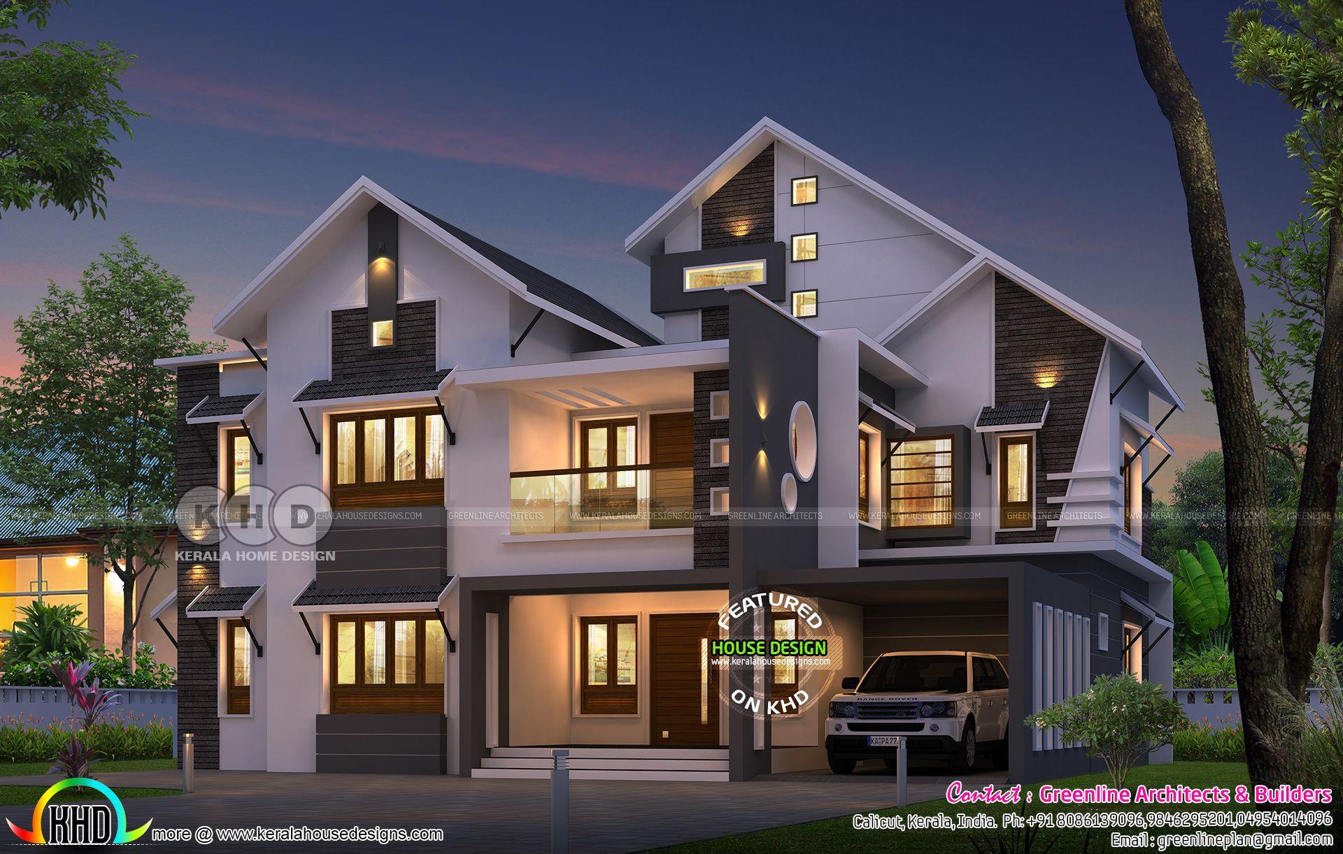 3106 sqft 5 bedroom sloping roof home plan in 2019