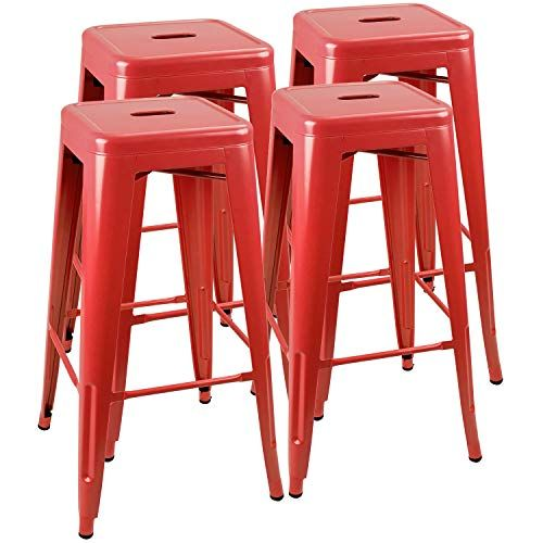 Pleasant Jummico Metal Bar Stool Backless 30 Inches Stackable Inzonedesignstudio Interior Chair Design Inzonedesignstudiocom