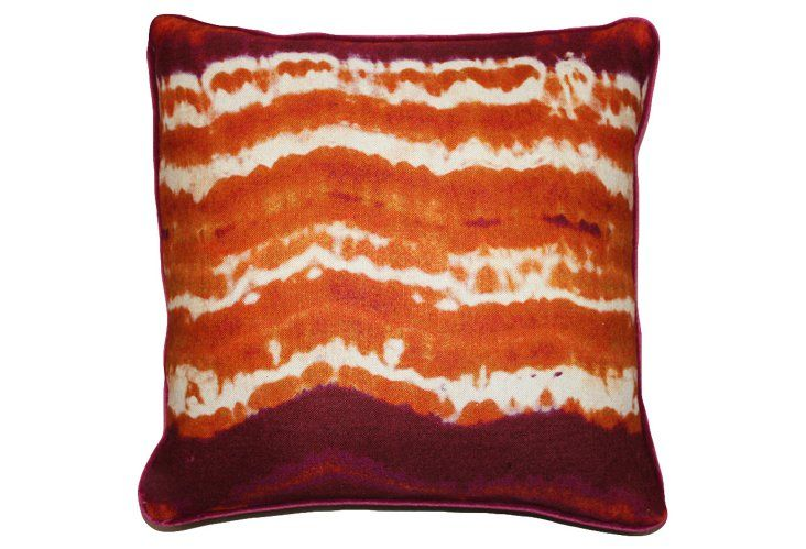 Tie Dye 20x20 Linen Pillow, Orange - Kim Salmela - Brands