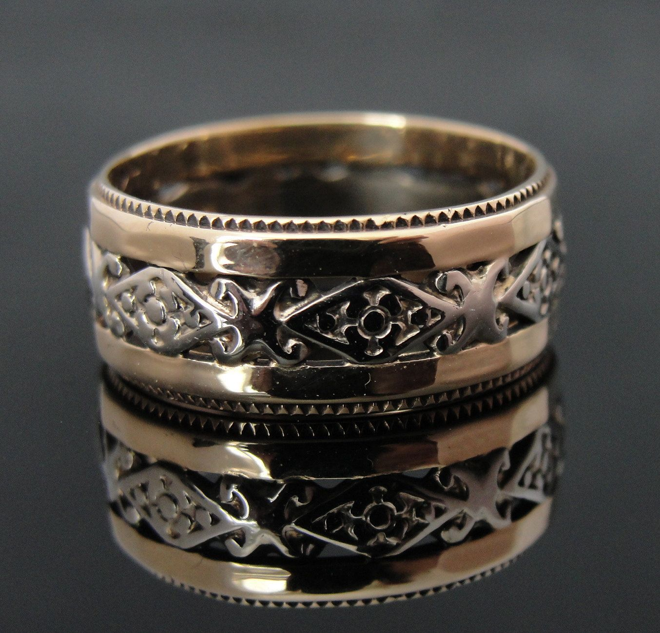 Pierced and Filigree Antique Wedding Band, Late Art Deco