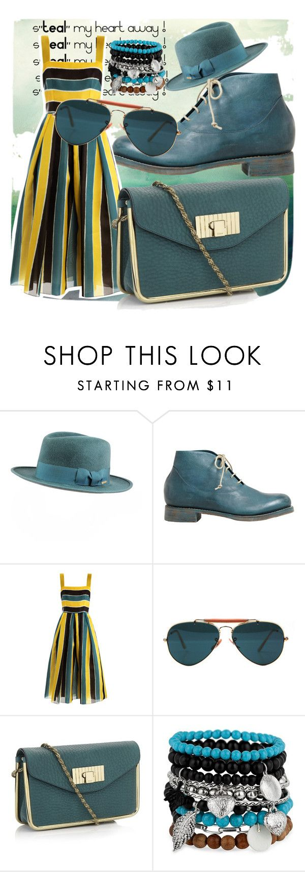 """s""TEAL"" my heart away ! "" by raisaayu ❤ liked on Polyvore featuring SuperDuper Hats, Cherevichkiotvichki, Dolce&Gabbana, Ray-Ban, Chloé and MOOD"