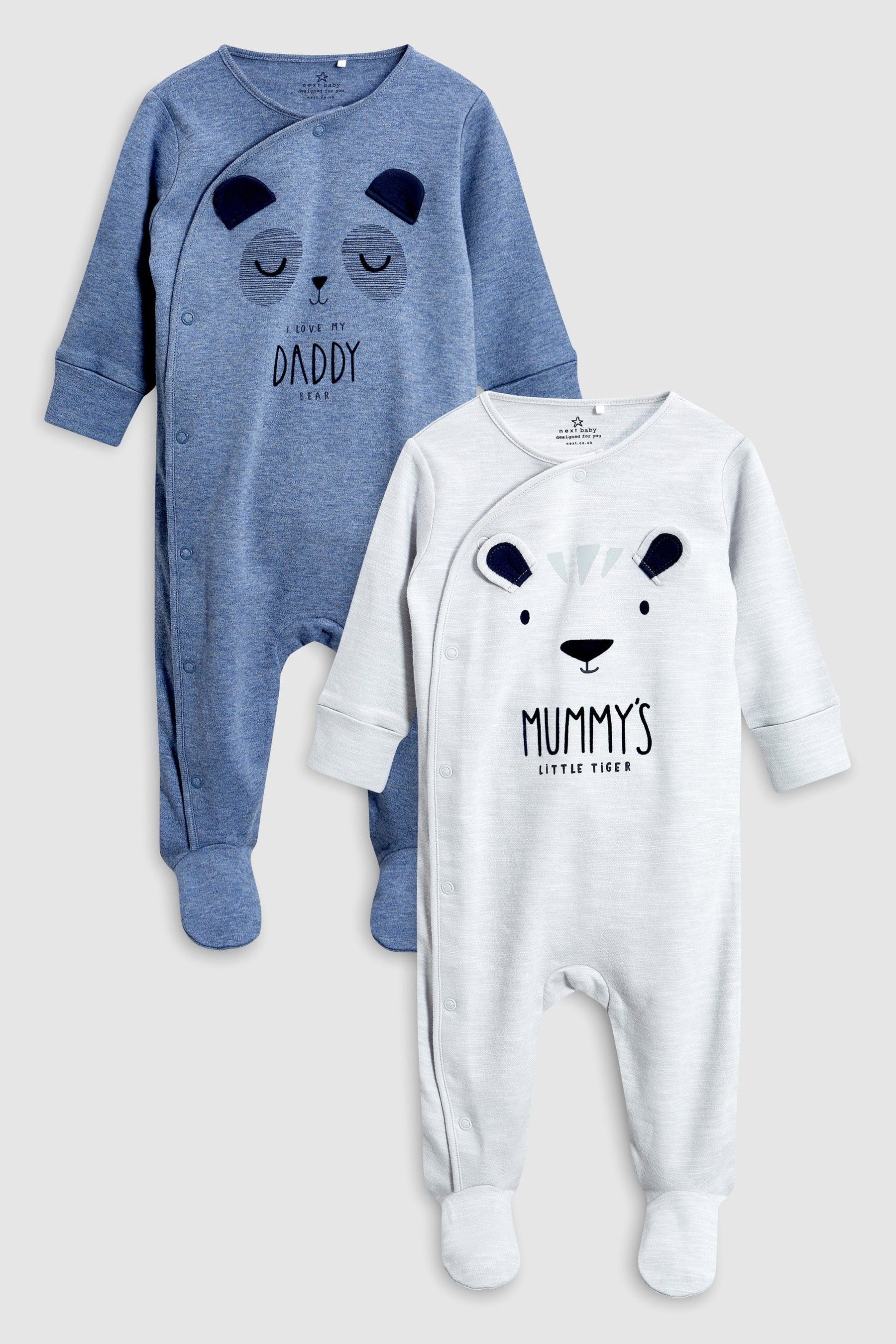 8cbd80f88 Boys Next Grey/Blue Character Mummy And Daddy Sleepsuits Two Pack  (0mths-2yrs