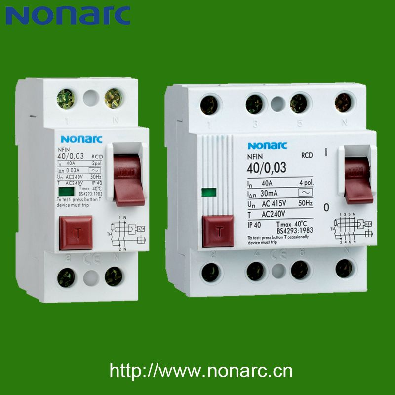 Nfin Residual Current Device Rcd Earth Leakage Circuit Breaker Breakers Circuit Electric Co