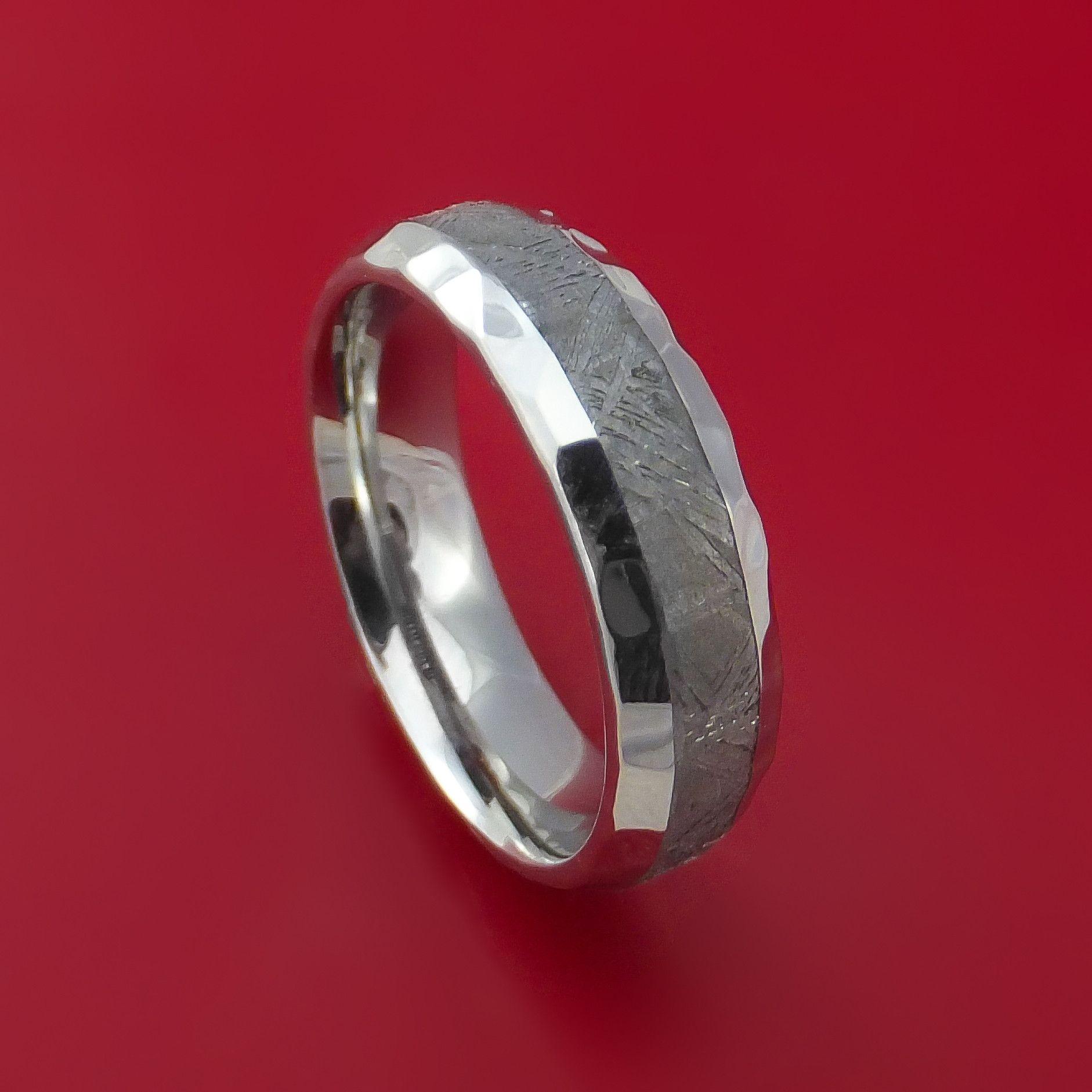 Cobalt Chrome Ring with Gibeon Meteorite Inlay Custom Made