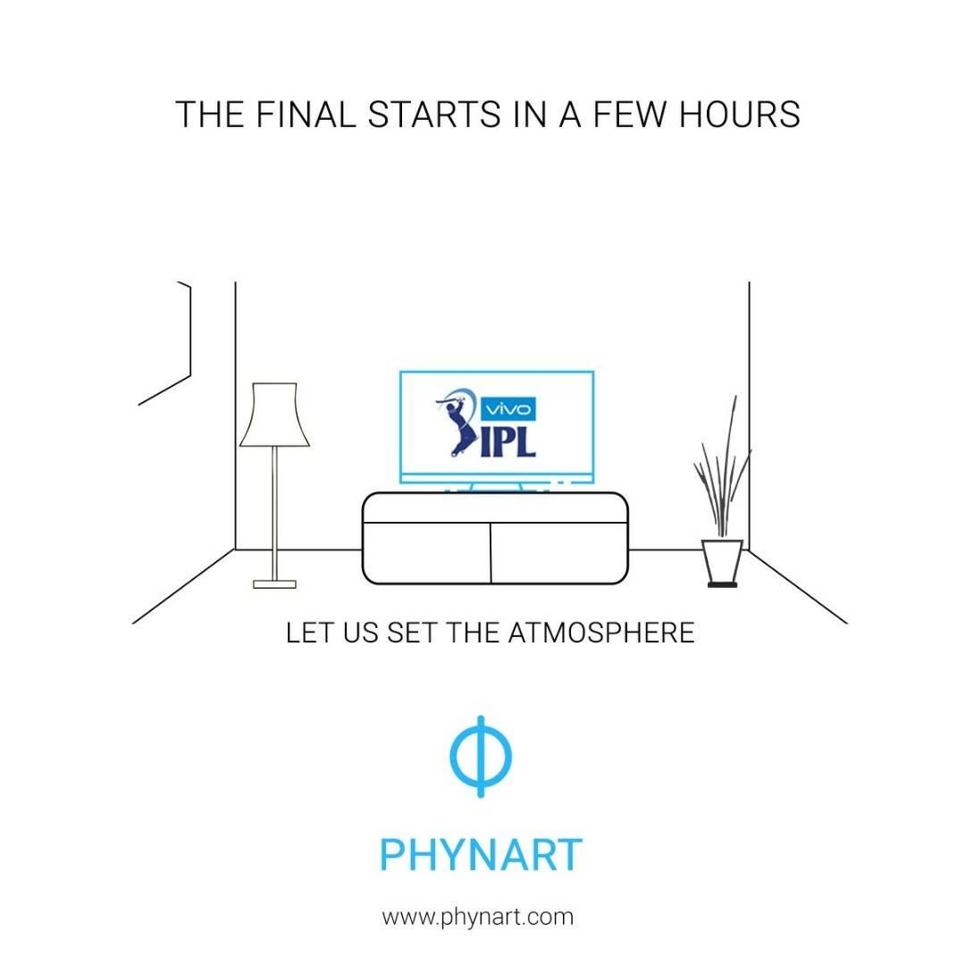 The much anticipated IPL final starts in a few hours. Let us set the perfect atmosphere for the match for you. All you've got to do is sit back and enjoy. #IPL #Final #RPSvsMI #PerfectSetting #Enjoy #Phynart