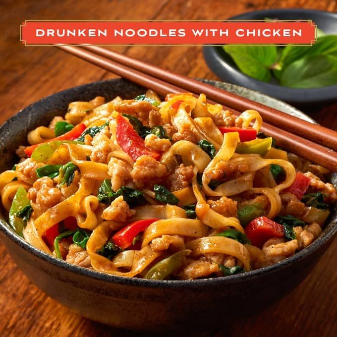 Let your taste buds take a journey to Thailand with Ling-Ling Asian Kitchen's Drunken Noodles with Chicken!