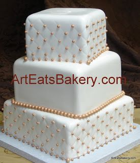 Three tier square fondant off set quilt and gold pearl custom